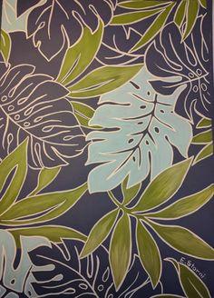 Nuevas imágenes motivos tropicales sobre papel color azul intenso,by@elena.storni