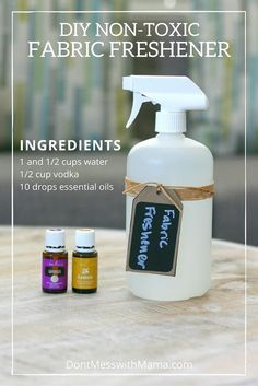 DIY Fabric Freshener Spray (Homemade Febreeze) - make the switch to this greener alternative to freshen up your clothes, closets, fabric couches and other fabrics. Homemade Cleaning Products, Natural Cleaning Products, Household Products, Bath Products, Fabric Refresher, Limpieza Natural, Diys, Linen Spray, Diy Cleaners