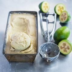 Feijoas - why I love them and ways to eat them! - Nadia Lim - - When the trees are practically raining with these green gems, it's time to get creative and find some new and exciting ways to get the best out of feijoas. Healthy Ice Cream, Vegan Ice Cream, Whipped Cream, Pineapple Guava, Pudding, Nice Cream, Saveur, Ice Cream Recipes, Cooking Recipes