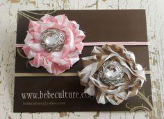 brown and pink striped white headband set baby shower headband newborn and up. $10.00, via Etsy.