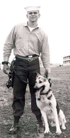 Military Working Dogs: Vintage working dog photo of US Navy K-9 handler Richard Priest. Richard was a member of the first all-Navy K-9 Sent...