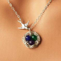 Birthstone bird nest necklace