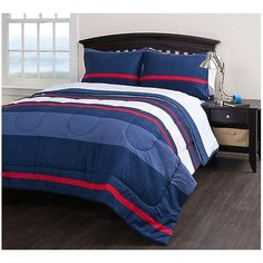 Blue Red White Boys Rugby Stripe Pattern Twin Comforter Set Sheets Coastal Striped Theme Horizontal Cabana Lines Solid Navy Kids Bedding Bedroom Dorm Room Comforters, Kids Comforter Sets, Twin Comforter Sets, King Bedding Sets, Blue And White Bedding, Blue Bedding Sets, Red Bedding, Luxury Bedding, Cheap Bed Sheets