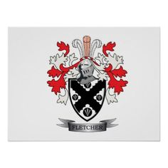 #name - #Fletcher Family Crest Coat of Arms Poster