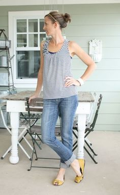 striped tank, boyfriend jeans, and yellow flats - what i wore wednesday at the pleated poppy