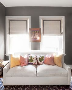 Suzie: Erin Gates Design - Chic gray boy's nursery design with bold gray walls paint color, ...