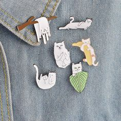1pc Cartoon White Cat Fishbone Metal Badge Brooch Button Pins Denim Jacket Pin Jewelry Decoration Badge For Clothes Lapel Pins Promoting Health And Curing Diseases Arts,crafts & Sewing