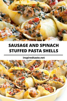 Sausage Stuffed Shells with Spinach // This easy stuffed shells recipe with sausage, spinach, tomato, and ricotta cheese will make just about anyone reach in for more. Sausage Stuffed Shells, Easy Stuffed Shells, Spinach Stuffed Shells, Healthy Stuffed Shells, Barilla Stuffed Shells Recipe, Recipe For Stuffed Shells, Seafood Stuffed Shells, Spinach Recipes, Sausage Recipes