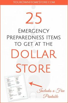 25 Emergency Preparedness Items to get at the dollar store Emergency Preparedness can quickly get expensive. But if you know what you can buy at the dollar store, you can put the money you save toward bigger ticket items without impacting your budget. Family Emergency Binder, 72 Hour Emergency Kit, Emergency Preparedness Items, Emergency Preparation, Emergency Supplies, Disaster Preparedness, Survival Prepping, Survival Skills, Survival Gear