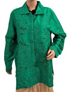 Womens Outer Wear Shirt Jacket with Floral Embroidered Long Sleeve (Green,XXL) MI,http://www.amazon.com/dp/B00AOJA6PQ/ref=cm_sw_r_pi_dp_VnhZqb1QE4JWM58V