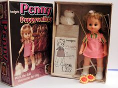 PENNY PUPPY WALKER DOLL BRADGATE/ PALITOY BOXED walks with toy dog 1970s