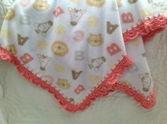 Warm+Fleece+Blanket+with+crocheted+shell+coral+by+Lorettescottage,+$21.00
