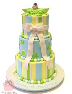Pea in the Pod Baby Shower Cake | http://blog.pinkcakebox.com/pea-in-the-pod-baby-shower-cake-2013-01-29.htm