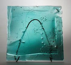 Lubomir Blecha, the glass relief, 1969, Novy Bor (Haida), M: 39,5 x 39,5 cm, Czechoslovakia