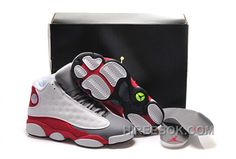 "1f2416b46abe05 Girls Air Jordan 13 Retro ""Cement Grey"" White Black-True Red-Cement Grey  For Sale Online NaPhe"
