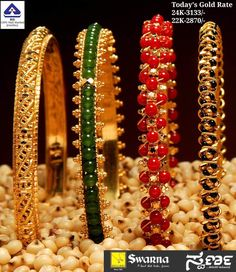 Gorgeous bracelets which truly are gorgeous. Pearl Necklace Designs, Gold Earrings Designs, Gold Bangles Design, Gold Jewellery Design, Gold Rings Jewelry, Beaded Jewelry, Ruby Bangles, Diamond Bracelets, Sari Design