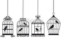 http://de.fotolia.com/id/23154133 vintage birdcages with birds