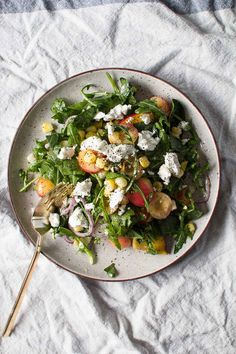 Sweet Corn, Peach, and Cherry Salad With Creamy Goat Cheese and Lime Dressing