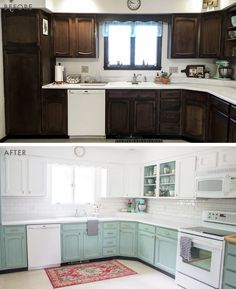10 DIY Kitchen Before & Afters That Are Serious Eye Candy Emily Henderson - kitchen before and after Before And After Diy, Before After Kitchen, Painting Kitchen Cabinets, Home Remodeling, Kitchen Renovations, Kitchen Makeovers, Eye Candy, Home Projects, Layout Design