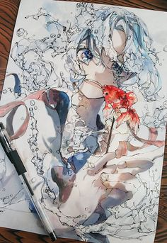 Anime Drawings Sketches, Anime Sketch, Cute Drawings, Anime Character Drawing, Character Art, Art And Illustration, Pretty Art, Cute Art, Manga Watercolor