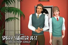 Spiffy Sweater Vest as a Top-Only by Shokoninio - Sims 3 Downloads CC Caboodle
