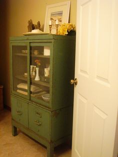 Bathroom: Classy Green Old Painted Vintage Bathroom Storage ... Great for storing towels and toiletries near the bathroom