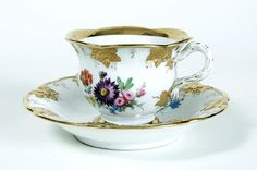Elaborate Meissen Tea Cup and Saucer.
