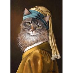 Cat with a Pearl Earring  5x7 print by OldWorldPetPortraits