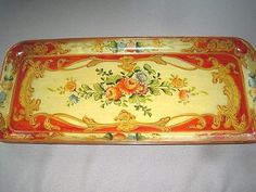 Long Narrow Hand Painted Paper Mache Red Yellow Tole Roses Dresser Jewelry Tray #Japan