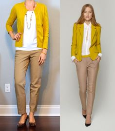 outfit post: beige ankle pant, mustard cardigan, leopard wedges (Outfit Posts) – Outfits for Work outfit post: beige ankle pant, mustard cardigan, leopard wedges (Outfit Posts) Wedges Outfit, Yellow Cardigan Outfits, Mustard Cardigan Outfit, Ankle Pants Outfit, Beige Pants Outfit, Kaki Pants, Blazer Outfits, Outfit Posts, Workwear