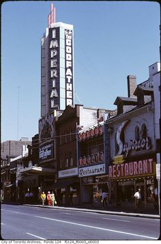 The history of Yonge Street is that of Toronto itself. As the street developed, so too did the city around it. Lost Movie, Imperial Theater, Toronto Ontario Canada, Toronto City, Ios, Yonge Street, Toronto Photos, Canadian History, Lake Michigan
