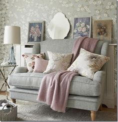 Looking for vintage country living room decorating ideas? Take a look at this country living room from Country Homes & Interiors for inspiration. For more living room ideas, such as how to decorate with vintage furniture, visit our living room galleries Pastel Living Room, Living Room Grey, Home Living Room, Living Room Designs, Living Room Decor, Living Spaces, Pastel Room, Country Cottage Living Room, Pastel Decor