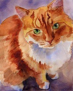 Orange Marmalade BiColor Tabby Cat Art Print of by rachelsstudio, $25.00 Rachel Parker