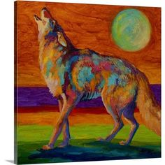 Canvas On Demand 'Coyote' by Marion Rose Original Painting on Canvas Size: