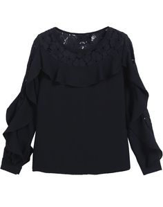 Black Long Sleeve Lace Ruffle Chiffon Blouse 20.67