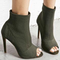 Open Toe Knit Stiletto Booties