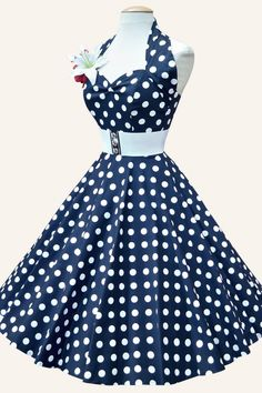 #topvintage Vivien of Holloway - 50s Retro halter Polka Dot Navy White swing dress cotton sateen