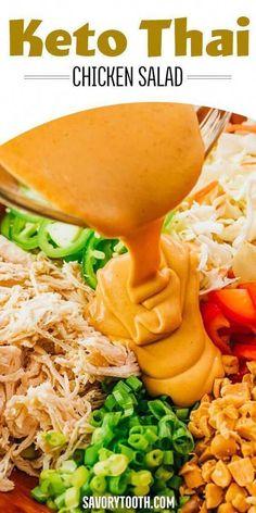Low Carb Keto, Low Carb Recipes, Diet Recipes, Cooking Recipes, Healthy Recipes, Chicken Recipes, Diet Tips, Keto Chicken, Thai Recipes