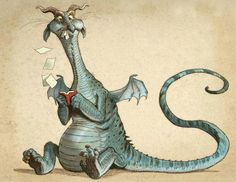 """""""Book Wyrm"""" a book-eating dragon who loves to devour his favorite books, drawn by Tony DiTerlizzi for his daughter's school book fair. Magic Creatures, Fantasy Creatures, Mythical Creatures, Fantasy Dragon, Dragon Art, Fantasy Art, Dragon Book, Illustrator, Dragon's Lair"""