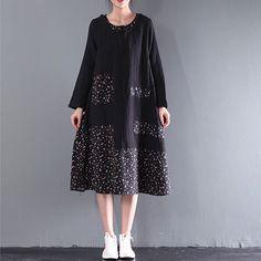 Women Korean Loose Long Sleeve Cotton Stitching Retro Big Swing Dress
