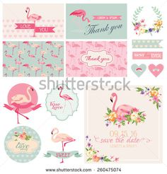 Flamingo Party Set - for Wedding, Bridal Shower, Party Decoration - in vector - stock vector