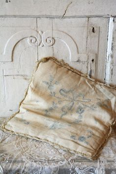 faded, beautiful and well used. Who rested their head on this comfortable pillow? Shades Of White, Blue And White, Bed Pillows, Cushions, All The Small Things, Comfortable Pillows, Thing 1, Linens And Lace, Soft Colors