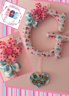Fabric covered letter with name tag.  Flowers. Birds. Nursery. Baby's room. Kids room. Door hanger. Home decor   Www.facebook.com/fabtastric3dletters