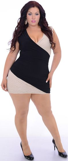 Elite (Plus/Black/Cream)-Great Glam is the web's best sexy plus size online store clothing website for 1X 2X and 3X clothes for women and juniors.