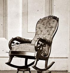 The rocking chair that Abe Lincoln was sitting in when he was shot.