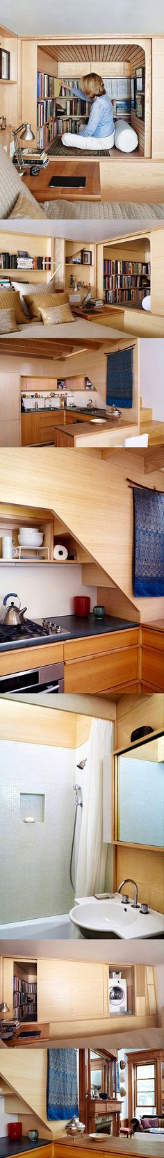 Faced with the challenge of a diminutive New York apartment in desperate need of a refresh, architect Tim Seggerman went straight to his toolbox to craft a Nakashima-inspired interior. The apartment, a 240-square-foot shoebox with a sleeping loft over the kitchen, was in dismal shape, without a true line or flush surface. The entire apartment is a master class in finish carpentry: There are cabinets of cypress and bamboo; a gently chamfered ash-and-beech staircase; flooring of quartered…