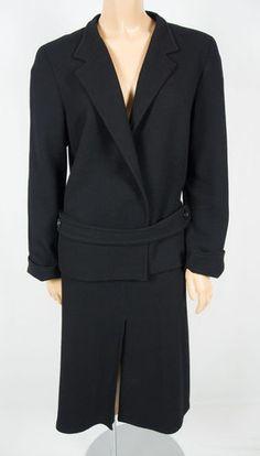LIDA BADAY Black 100% Wool Skirt Suit L 12 14 Waffle Texture Wrap Tie Jacket