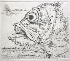 Günter Grass Original Radierung Butt im Profil 1973 Probedruck Mariazuehren