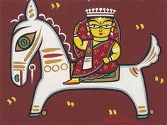 Jamini Roy - Untitled (Woman on Horse)