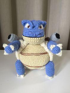 Blastoise pattern by Edward Yong Pokemon Dolls, Pokemon Craft, Crochet For Boys, Cute Crochet, Pokemon Crochet Pattern, Crochet Patterns, Crochet Gifts, Crochet Toys, Pokemon Blastoise
